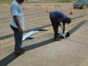NW-75 Application - Sealing cracks to prevent water penetration into subbase