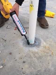 "Step 5 - Apply 1/2"" bead of TERM® Sealant Barrier around base of pipe-concrete intersection."