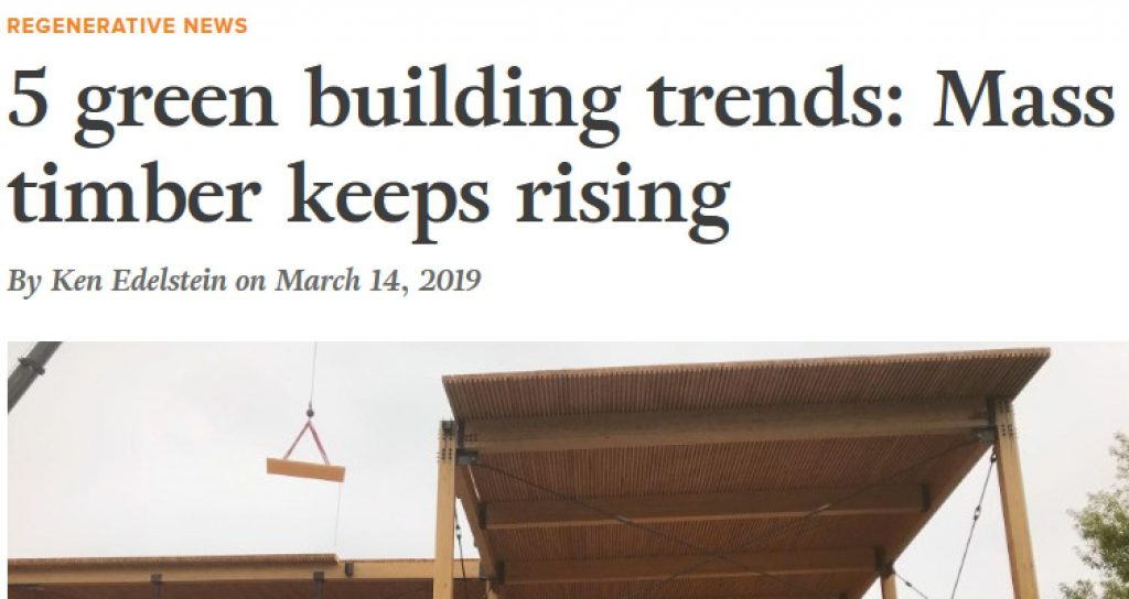 Article stating rising trend in mass timber builds