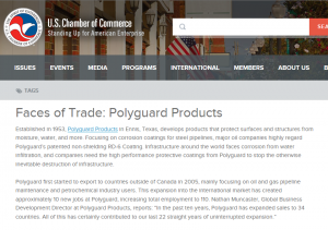 US Chamber of Commerce - Faces of Trade: Polyguard Products